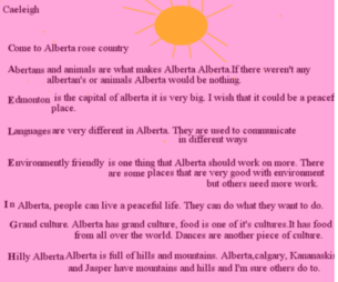 Home education student, Caleigh, shared this poem about Alberta in her year end portfolio.